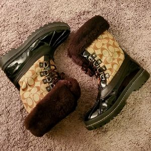 Coach fuzzy snow boots